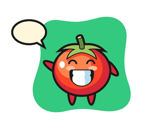 Tomatoes cartoon character doing wave hand gesture, cute style design for t shirt, sticker, logo element