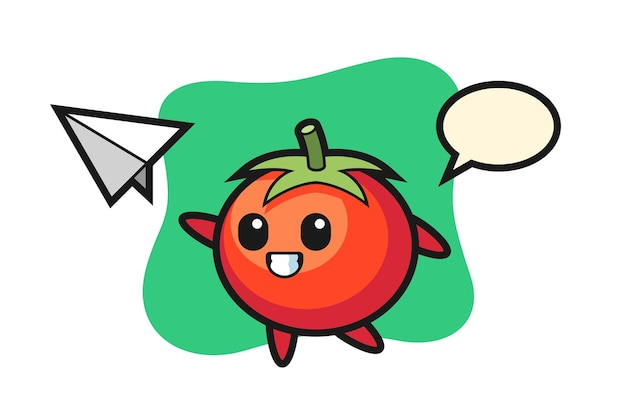 Tomatoes cartoon character throwing paper airplane, cute style design for t shirt, sticker, logo element