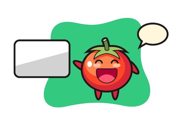 Иллюстрация шаржа помидоров делает презентацию, милый стиль дизайна для футболки, наклейки, элемента логотипа