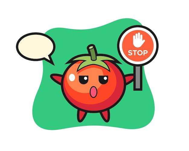 정지 신호를 들고 있는 토마토 캐릭터 그림, 티셔츠, 스티커, 로고 요소를 위한 귀여운 스타일 디자인