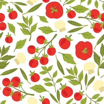 トマト、ハーブ、マッシュルームのシームレスパターン