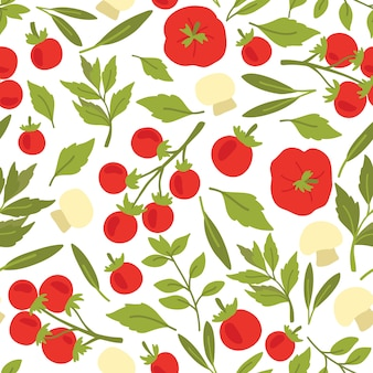 Tomatoes, herbs and mashrooms seamless pattern