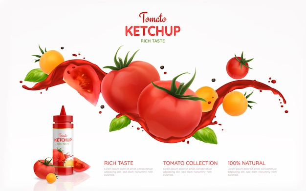 Tomatoes ketchup realistic poster illustration