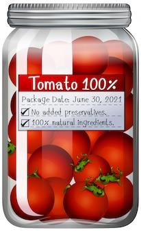 トマトはガラスの瓶に保存します