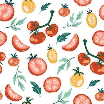 トマトのシームレスなパターン。熟したジューシーなトマトを枝、スライス、葉に手で描きます。キッチンの壁紙、テキスタイル、ファブリック、紙の無限のテクスチャ。ビーガン、農場、自然。食品ベクトルの背景。