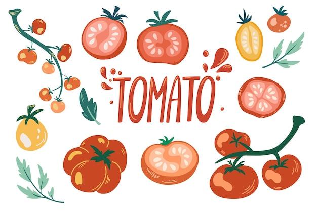 トマトセット。漫画の野菜。枝のトマト、チェリートマト、スライス、手描きのレタリング。ベジタリアン健康食品。白い背景で隔離のベクトルイラスト。