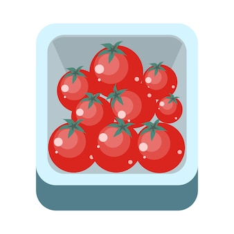 Tomatoes in tray flat design illustration.