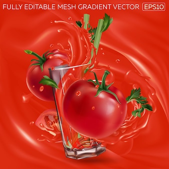 Tomatoes with celery and a glass of vegetable juice on a background of tomato juice.