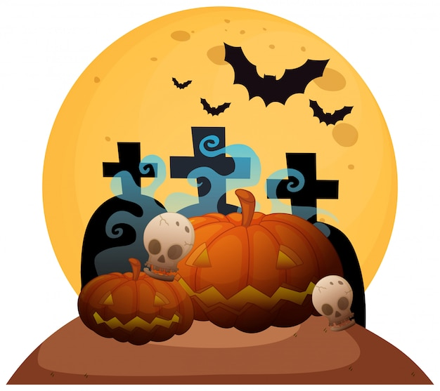 Tombstone in graveyard on halloween