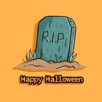 Tombstone illustration with happy halloween