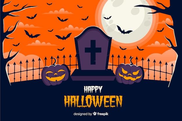 Tombstone and pumpkins halloween background