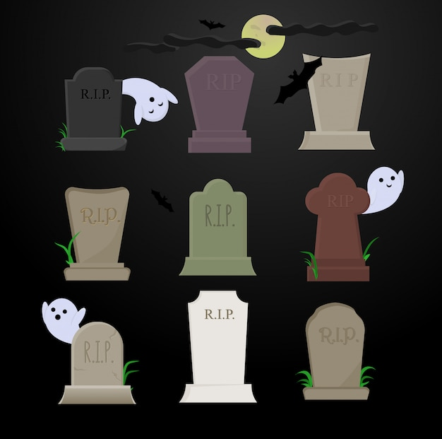 Tombstones of different colors on the graves in the presence of cute ghosts and black bats on a dark night under the moon.