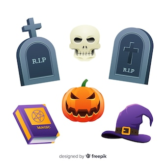 Tombstones and witches flat halloween collection