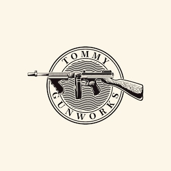 Tommy gun vector logo engraving