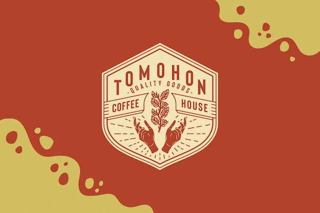 Tomohon coffee house logo with coffee leave in hand fully editable text, color and outline