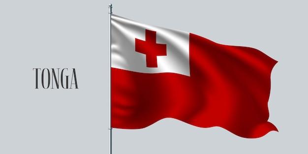 Тонга, размахивая флагом