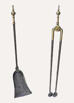 Щипцы и лопата - векторная винтажная иллюстрация, ремикс на основе работы ганса корша