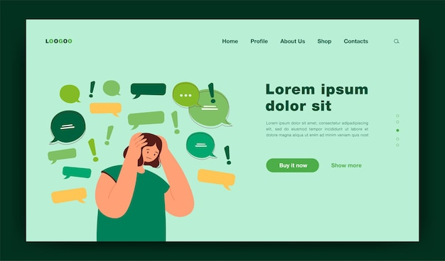 Too much information landing page template