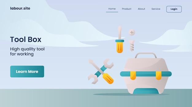 웹사이트 홈 홈페이지 방문 페이지를 위한 도구 상자 캠페인