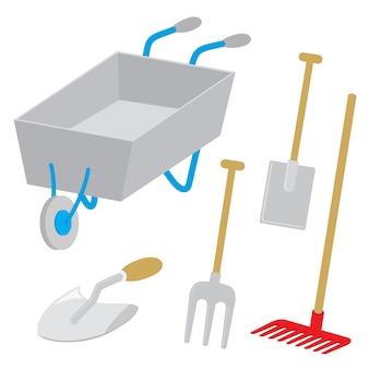 Tool garden wheelbarrow spade rake fork hoe trowel vector