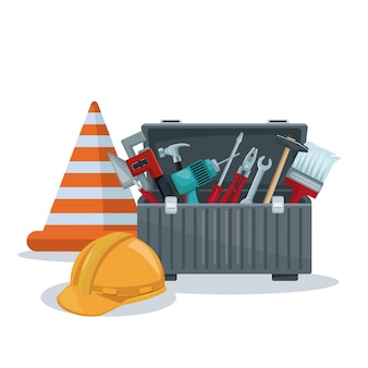 Toolbox and cone with helmet protection