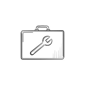 도구 상자 손으로 그린 개요 낙서 아이콘입니다. 흰색 배경에 격리된 인쇄, 웹사이트, 모바일 및 인포그래픽을 위한 렌치 벡터 스케치 그림의 이미지가 있는 작성기 상자.