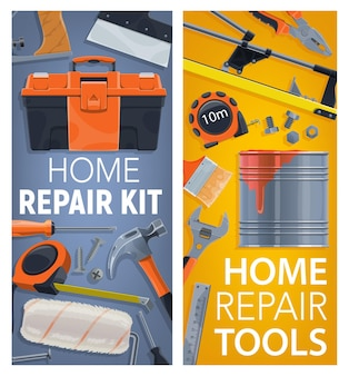 Toolbox, measuring tape and hammer, tile cutter, paint brush roller and spanner wrench, nail, bolt and screw, spatula