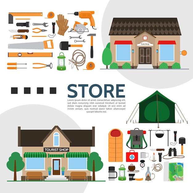 フラットスタイルのイラストでさまざまな製品機器やアクセサリーとツールや観光店の要素の構成