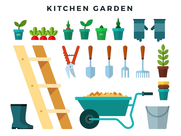 Tools and equipment for working in the kitchen garden, flat icons set.