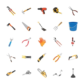 Tools flat vector icon set