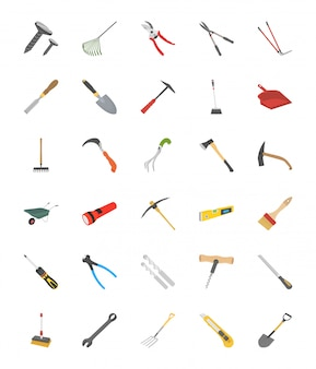 Tools flat vector icons collection