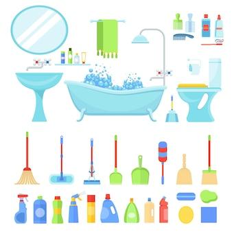バスルームを清潔にするためのツール。身体と家庭の衛生、清掃サービス。フラットベクトル漫画イラスト。白い背景で隔離のオブジェクト。