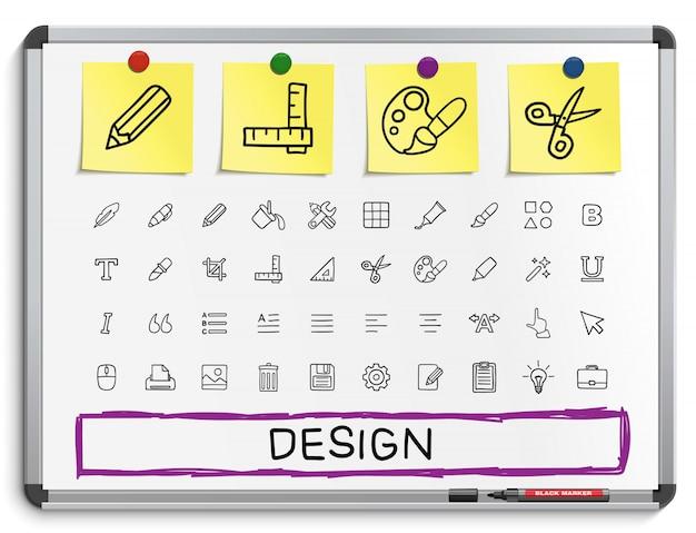 Инструменты ручной рисунок линии иконы. набор пиктограмм каракули, эскиз знак иллюстрации на белой маркерной доске с бумажными наклейками. палитра, волшебная кисть, карандаш, пипетка, ведро, клип, сетка, жирный.
