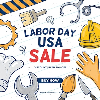 Tools and hands usa labour day