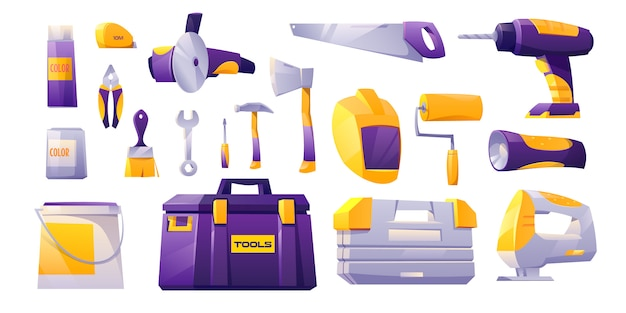 Tools icon set, hardware construction shop instruments