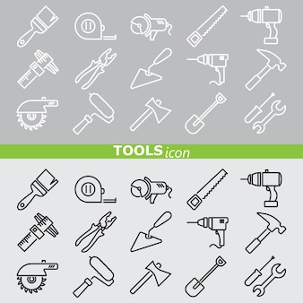 Tools icons. line set.