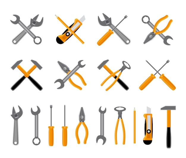 Tools icons set. hammer and wrench, , screwdriver and spanner. vector illustration