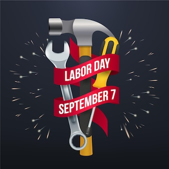 Tools and labor day in usa realistic design