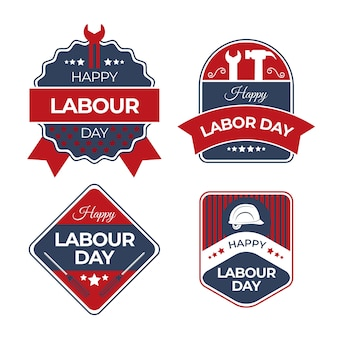 Tools labour day label with ribbons collection