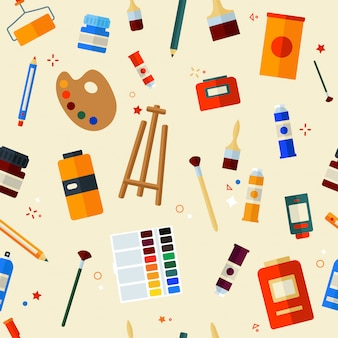 Tools painting seamless pattern