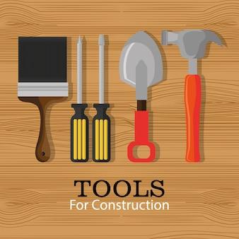ツールは木製のテーブルに設定