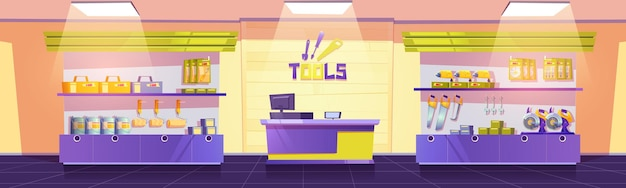 Tools shop with drills hand saws screwdrivers and spanners on shelves vector cartoon interior of emp...