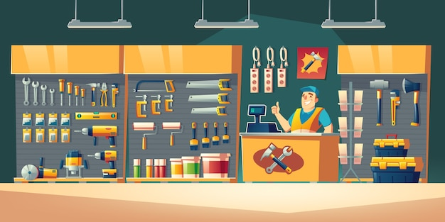 Tools store  hardware construction shop interior illustration