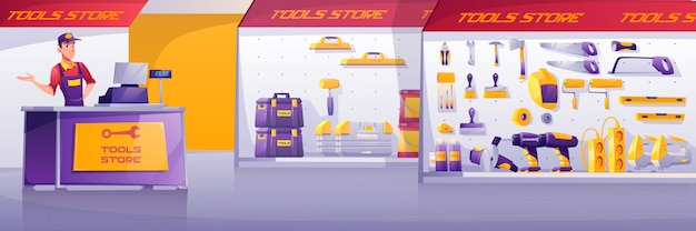 Tools store, hardware construction shop interior