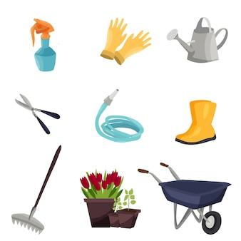 庭で働く道具。ガーデニングの概念。庭仕事の概念の背景。ベクトルの背景。