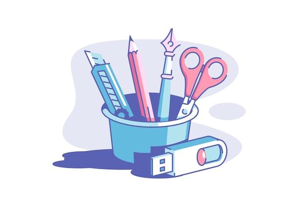 Набор инструментов и флэш-накопитель векторные иллюстрации. резак для карандашей и ножницы в плоском стиле контейнера. вещь для хранения фото и видео. концепция канцелярских товаров