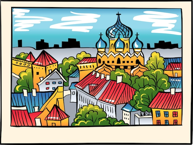 要塞の壁、塔、ロシア正教会のアレクサンドルネフスキー大聖堂のあるトゥームペアの丘、聖オラフ教会の塔からの眺め、スケッチスタイル、タリン、エストニア