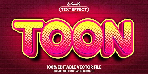 Toon text, font style editable text effect