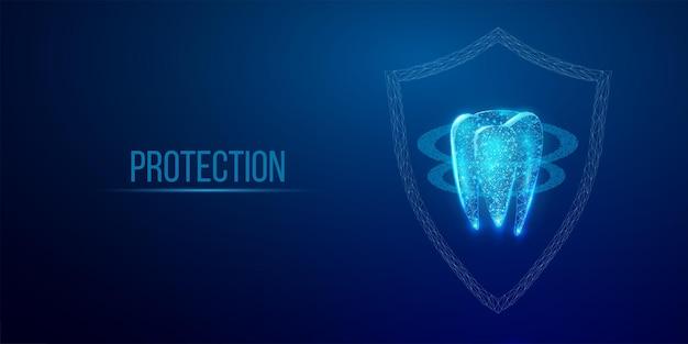 이빨. 추상 와이어프레임 낮은 폴리 스타일 배너입니다. 치과 서비스, 치아 치료, 치과 치료, 구강학 개념. 진한 파란색 배경입니다. 벡터 일러스트 레이 션.