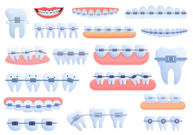 Tooth braces icons set. cartoon set of tooth braces  icons for web